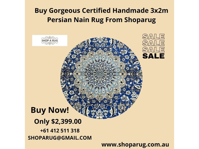 Buy Gorgeous Certified Handmade 3x2m Persian Nain Rug From Shoparug - 1