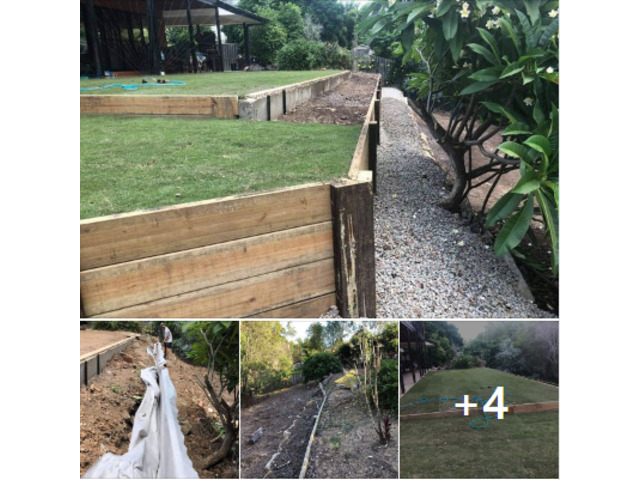 Retaining wall replacement and turf - 1