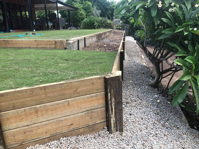 Retaining wall replacement and turf - 2
