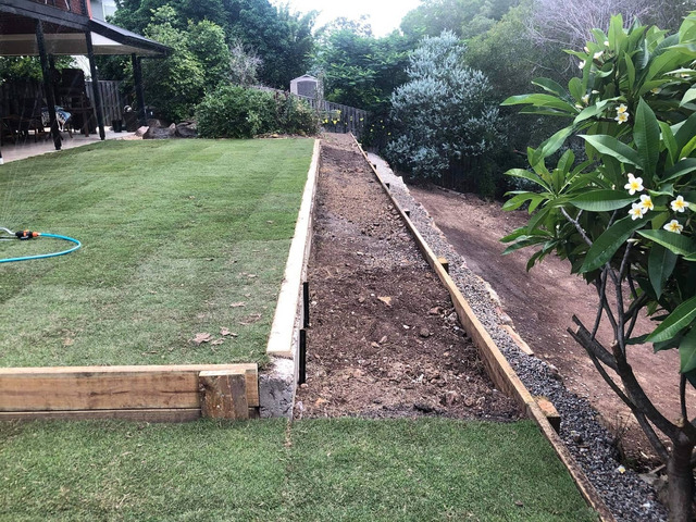 Retaining wall replacement and turf - 7