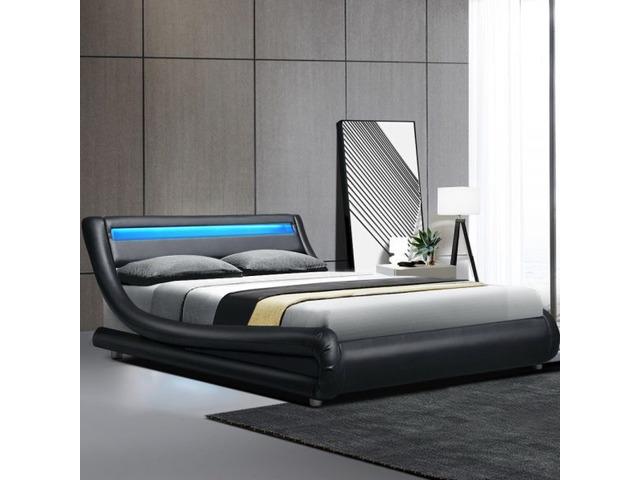 LED Bed Frame Double Full Size Base Mattress Platform Black Leather ALEX - 1