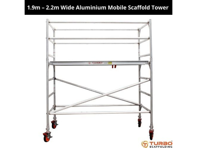Buy 1.9m – 2.2m Wide Aluminium Mobile Scaffold Tower - 1