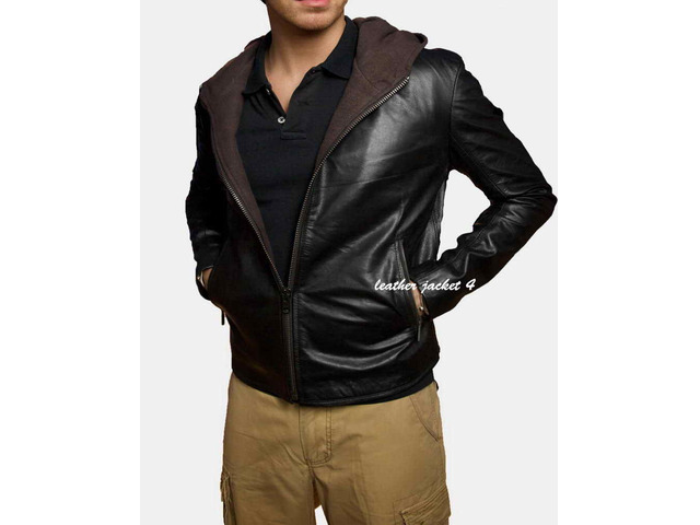 Angers Hooded Leather Jacket - 4