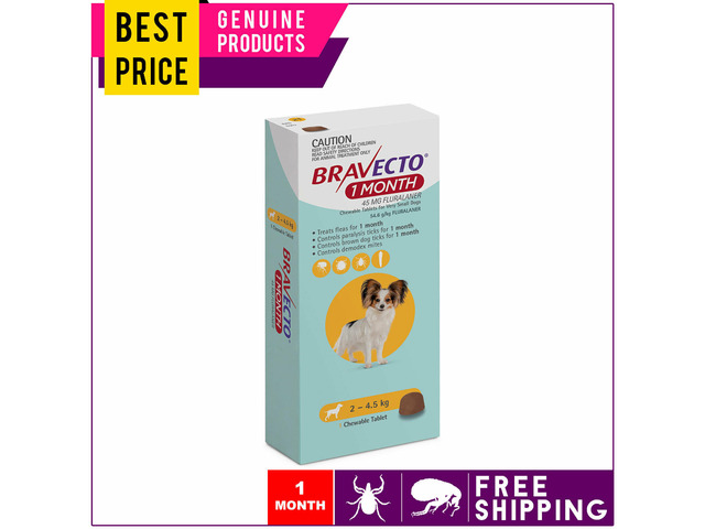BRAVECTO 1 Dose For Very Small Dogs 2 to 4.5 Kg MONTHLY Yellow Pack - 1