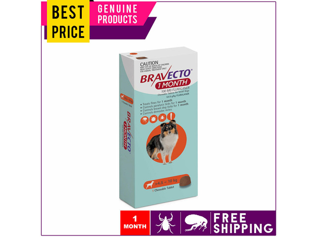 BRAVECTO 1 Dose For Small Dogs 4.5 to 10 Kg MONTHLY Orange Pack - 1
