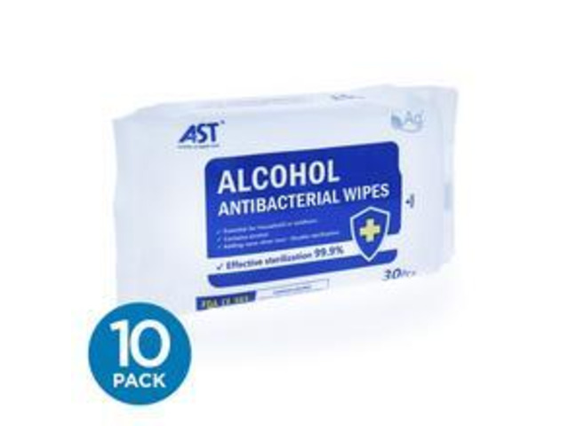 Antibacterial Wipes, 75% Alcohol - 30 Wipes Per Pack (Case of 10) - 1