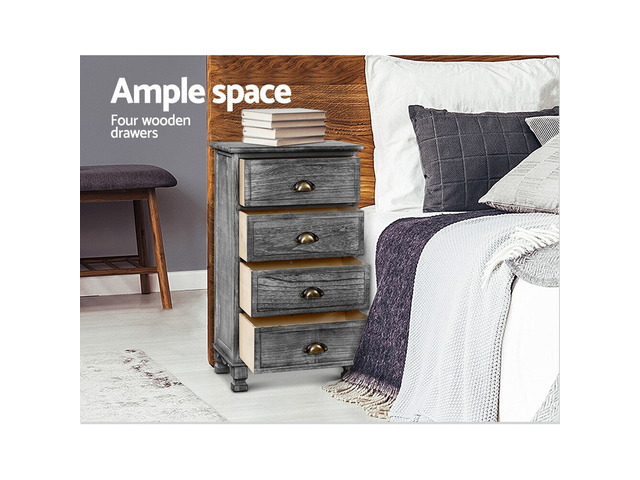 Artiss Bedside Tables Drawers Cabinet Vintage 4 Chest of Drawers Grey Nightstand - 1