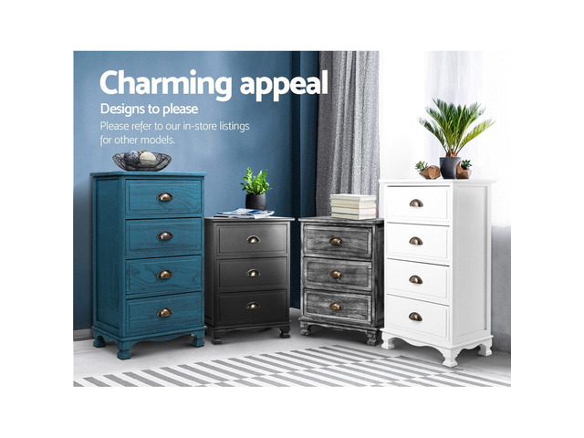 Artiss Bedside Tables Drawers Cabinet Vintage 4 Chest of Drawers Grey Nightstand - 3