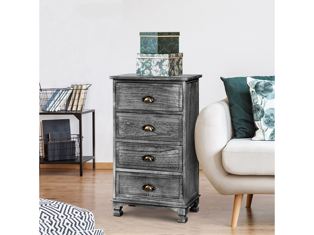 Artiss Bedside Tables Drawers Cabinet Vintage 4 Chest of Drawers Grey Nightstand - 4