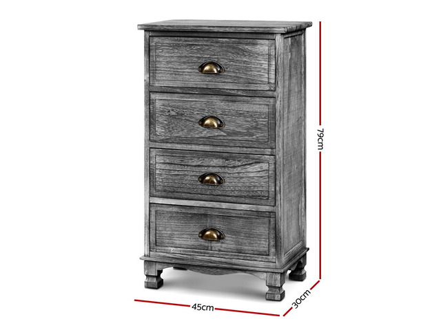 Artiss Bedside Tables Drawers Cabinet Vintage 4 Chest of Drawers Grey Nightstand - 5