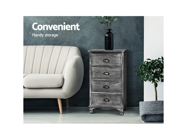 Artiss Bedside Tables Drawers Cabinet Vintage 4 Chest of Drawers Grey Nightstand - 6