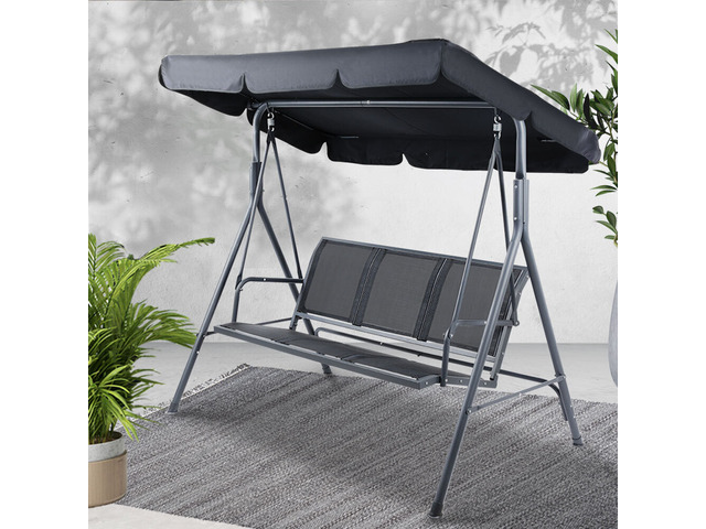 Swing Chair Outdoor Furniture Hanging Chairs Hammock 3 Seater Canopy Garden Bench - 2