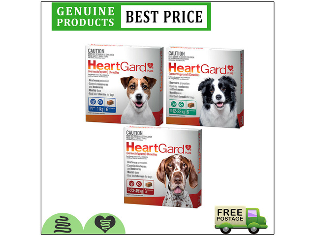HEARTGARD Plus 6 Doses Heartworm & Worms Control Chewable For Dogs All Sizes - 1