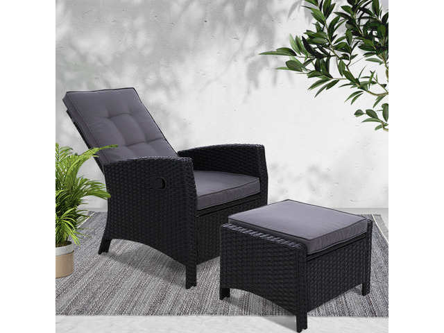 Sun lounge Recliner Chair Wicker Lounger Sofa Day Bed Outdoor Furniture - 3