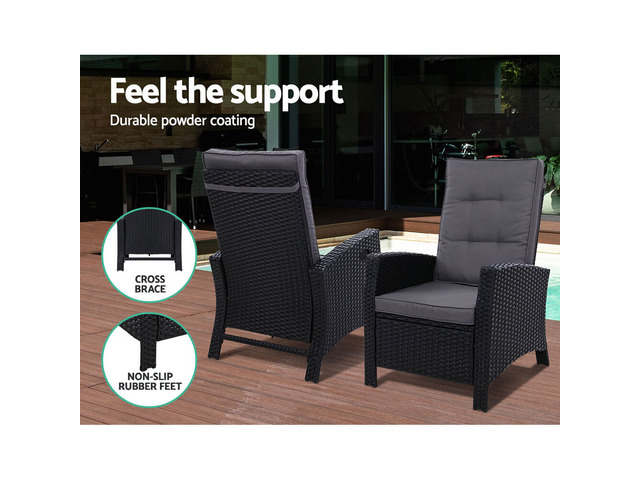 Sun lounge Recliner Chair Wicker Lounger Sofa Day Bed Outdoor Furniture - 5