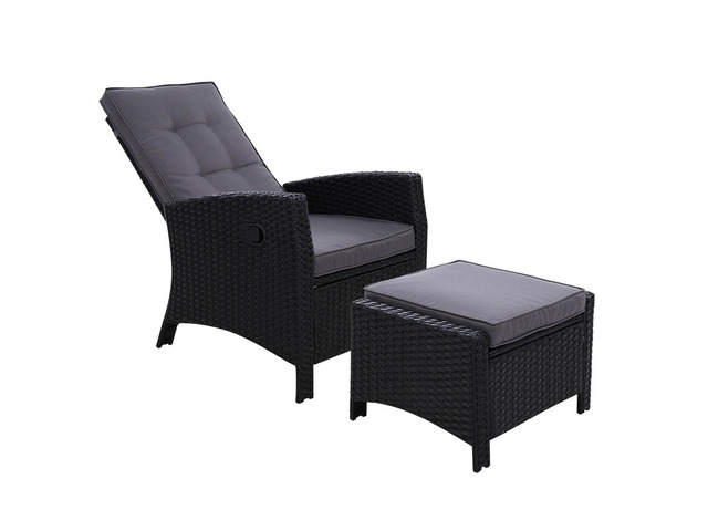 Sun lounge Recliner Chair Wicker Lounger Sofa Day Bed Outdoor Furniture - 7
