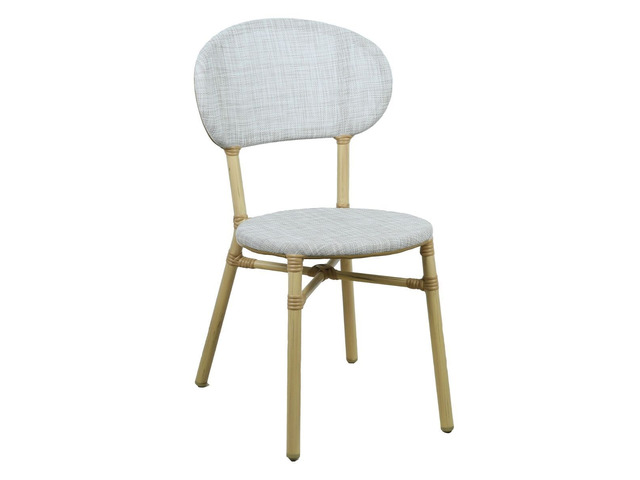 Curly Natural and White 2 Seater Rattan Outdoor Bistro Set - 3
