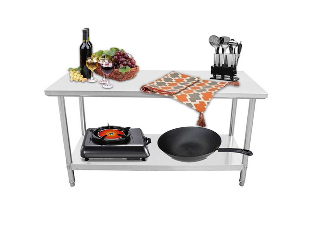 SOGA 150*70*85cm Commercial Catering Kitchen Stainless Steel Prep Work Bench - 3