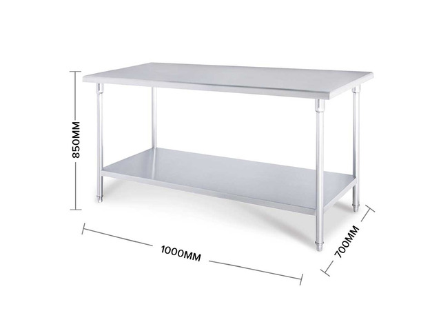 SOGA 150*70*85cm Commercial Catering Kitchen Stainless Steel Prep Work Bench - 4
