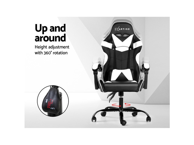 Artiss Gaming Office Chairs Computer Seating Racing Recliner Racer Black White - 2