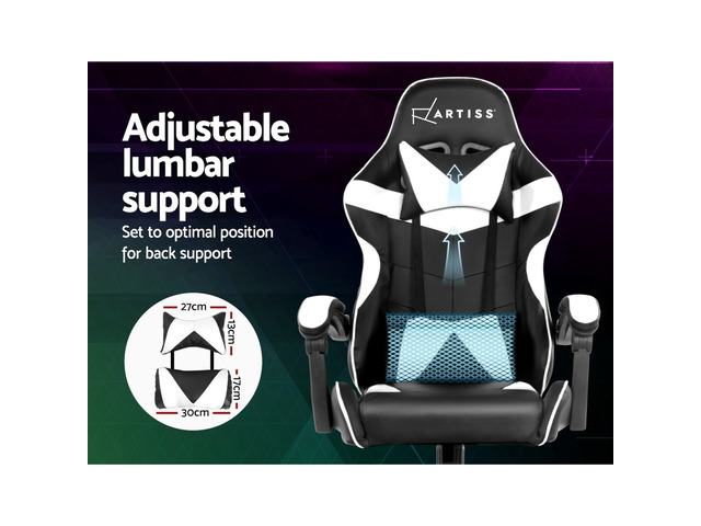 Artiss Gaming Office Chairs Computer Seating Racing Recliner Racer Black White - 3