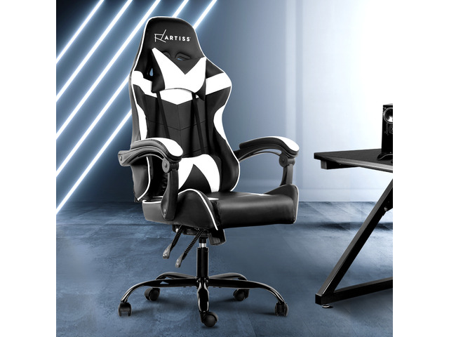Artiss Gaming Office Chairs Computer Seating Racing Recliner Racer Black White - 4