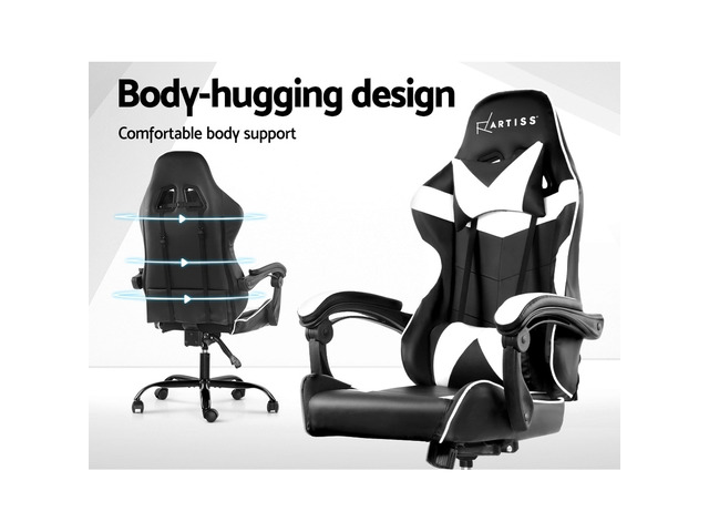 Artiss Gaming Office Chairs Computer Seating Racing Recliner Racer Black White - 5