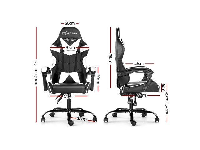 Artiss Gaming Office Chairs Computer Seating Racing Recliner Racer Black White - 6