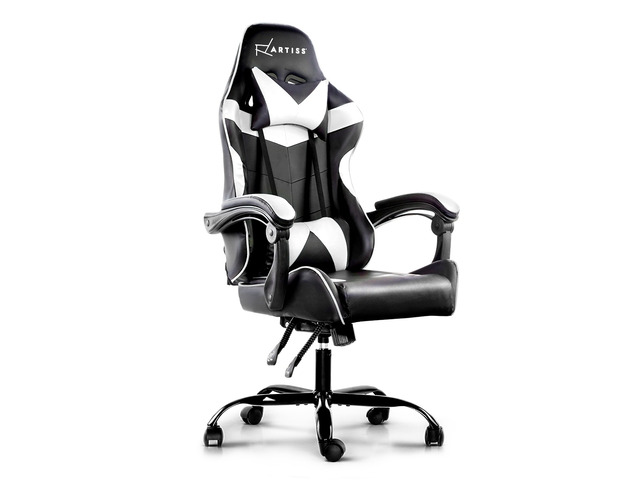 Artiss Gaming Office Chairs Computer Seating Racing Recliner Racer Black White - 7