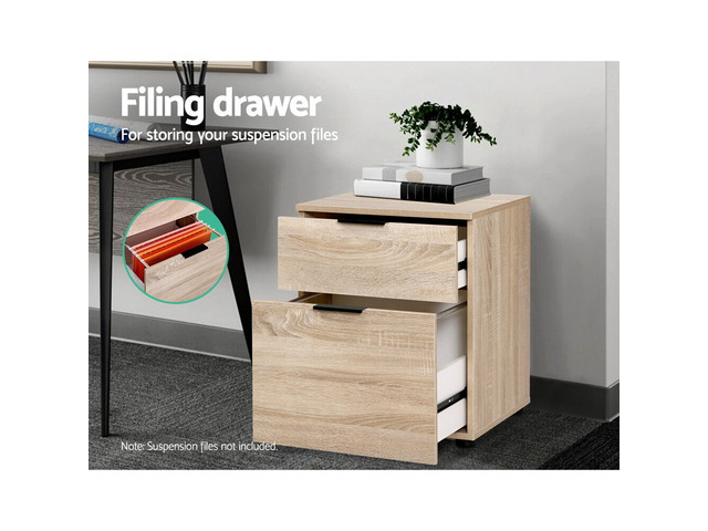 2 Drawer Filing Cabinet Office Shelves Storage Drawers Cupboard Wood File Home - 2