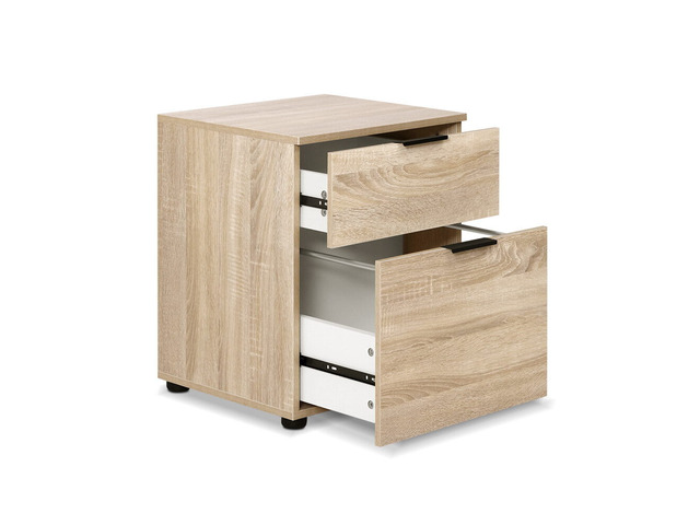 2 Drawer Filing Cabinet Office Shelves Storage Drawers Cupboard Wood File Home - 7