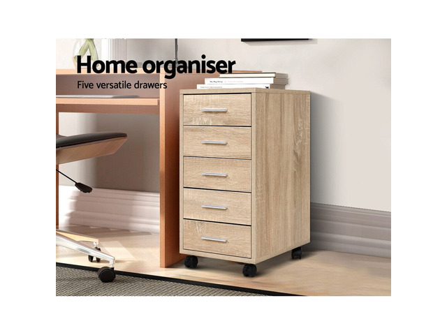 5 Drawer Filing Cabinet Storage Drawers Wood Study Office School File Cupboard - 1