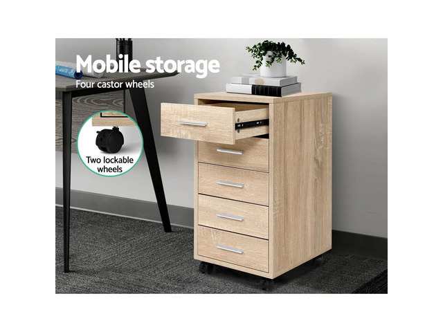 5 Drawer Filing Cabinet Storage Drawers Wood Study Office School File Cupboard - 5