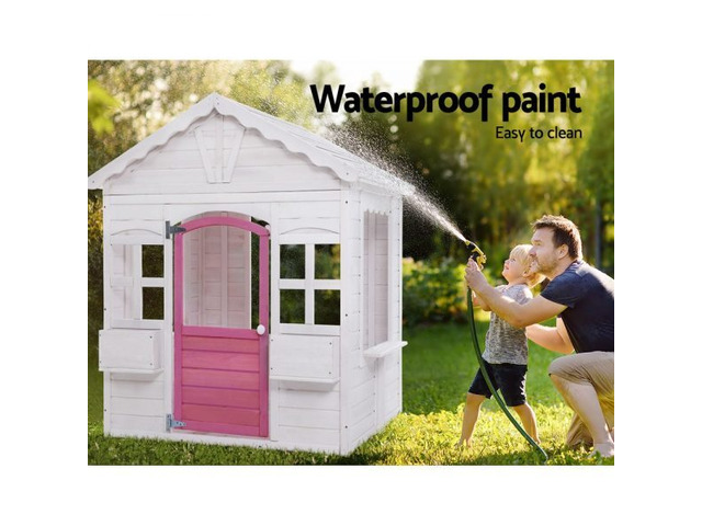 Kids Wooden Cubby House With Floor Outdoor Childrens Pretend Play - 1