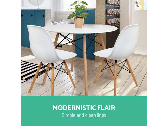 Artiss Round Dining Table 4 Seater 100cm White Replica Eames DSW Cafe Kitchen - 2
