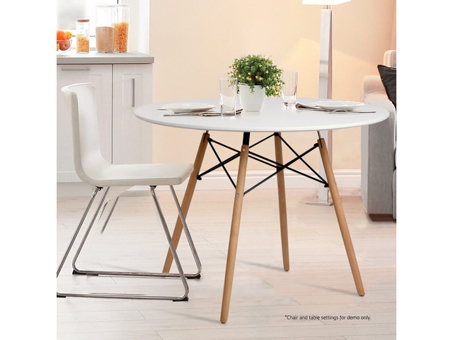 Artiss Round Dining Table 4 Seater 100cm White Replica Eames DSW Cafe Kitchen - 3