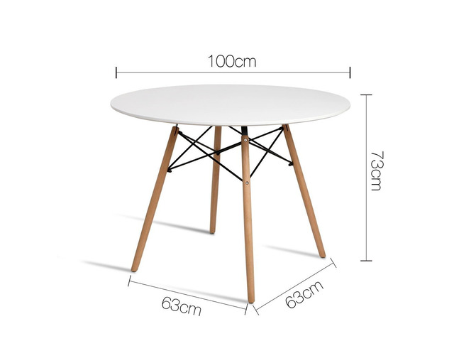 Artiss Round Dining Table 4 Seater 100cm White Replica Eames DSW Cafe Kitchen - 4