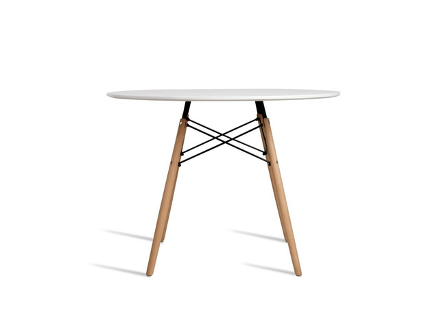 Artiss Round Dining Table 4 Seater 100cm White Replica Eames DSW Cafe Kitchen - 5