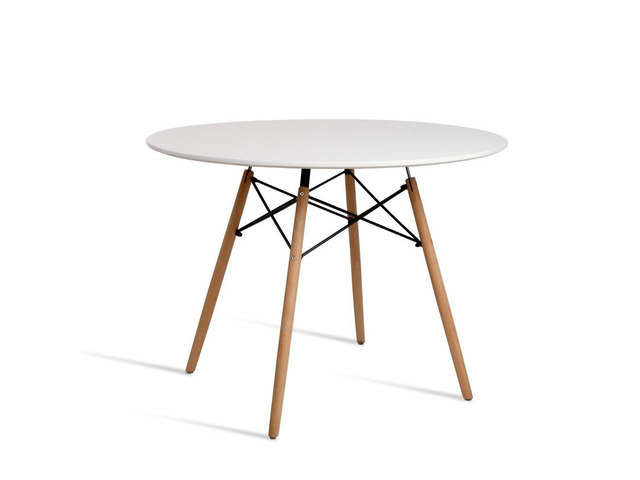 Artiss Round Dining Table 4 Seater 100cm White Replica Eames DSW Cafe Kitchen - 6