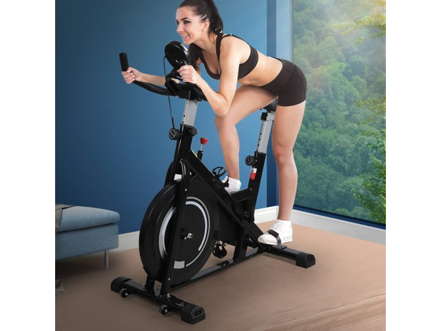 Spin Bike Fitness Exercise Bike Flywheel Commercial Home Gym Workout LCD Display - 1