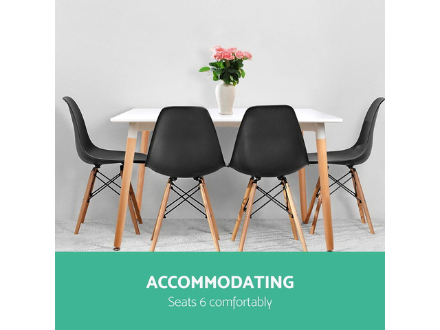 Artiss Dining Table 6 Seater 120 x 80cm White Replica Eames DSW Cafe Kitchen - 2