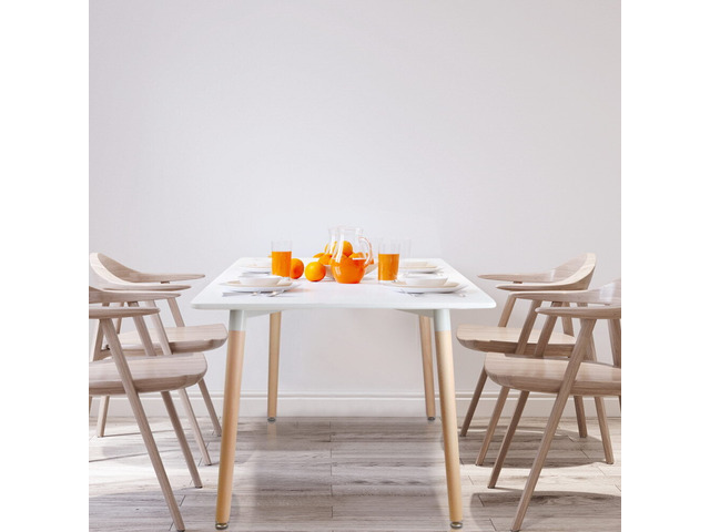 Artiss Dining Table 6 Seater 120 x 80cm White Replica Eames DSW Cafe Kitchen - 4