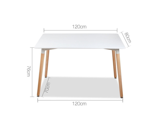 Artiss Dining Table 6 Seater 120 x 80cm White Replica Eames DSW Cafe Kitchen - 5