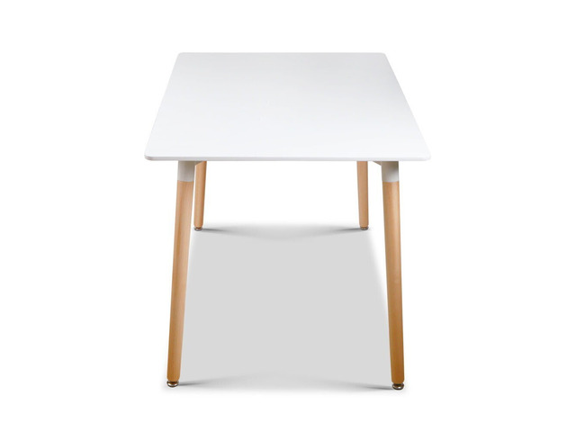 Artiss Dining Table 6 Seater 120 x 80cm White Replica Eames DSW Cafe Kitchen - 6