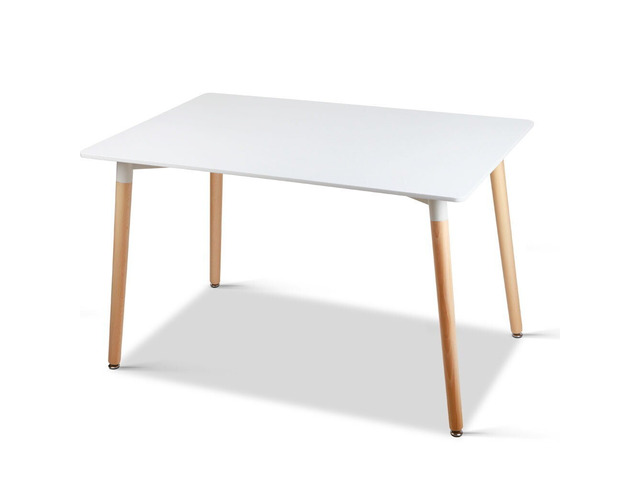 Artiss Dining Table 6 Seater 120 x 80cm White Replica Eames DSW Cafe Kitchen - 7