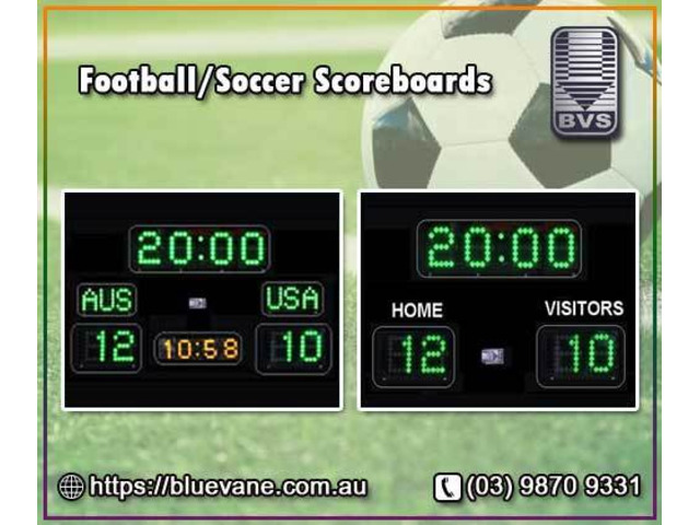 Football/Soccer Scoreboards with new technology - Blue Vane - 1