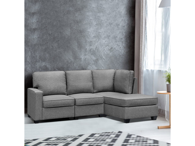 Artiss Sofa Lounge Set 4 Seater Modular Chaise Chair Suite Couch Fabric Grey - 2