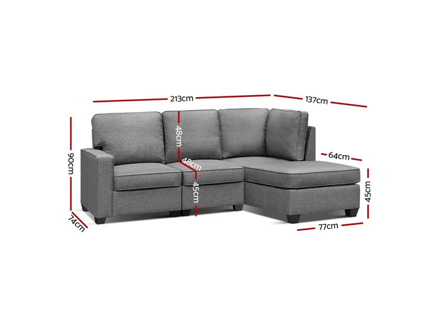 Artiss Sofa Lounge Set 4 Seater Modular Chaise Chair Suite Couch Fabric Grey - 3