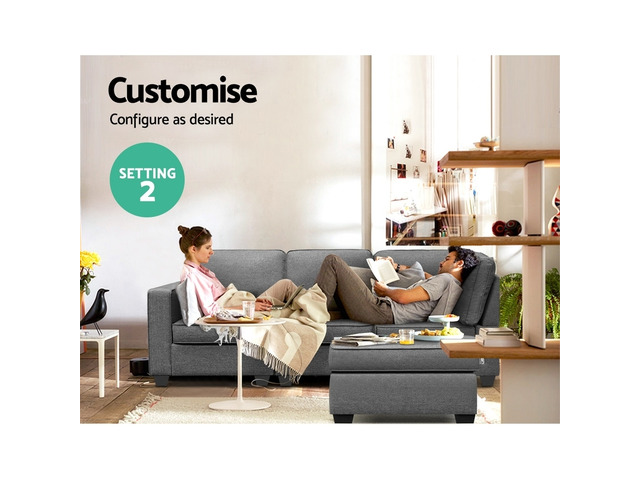 Artiss Sofa Lounge Set 4 Seater Modular Chaise Chair Suite Couch Fabric Grey - 4
