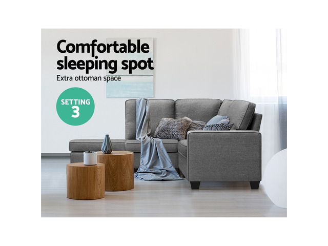 Artiss Sofa Lounge Set 4 Seater Modular Chaise Chair Suite Couch Fabric Grey - 5